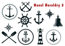 Naval heraldry icons set stock photography