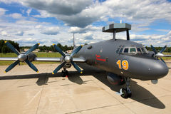 Naval Ilyushin IL-38N RF-75355 standing at Kubinka air force base during Army-2015 forum. KUBINKA, MOSCOW REGION, RUSSIA - JUNE 17, 2015: Naval Ilyushin IL-38N Stock Photos
