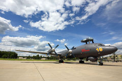 Naval Ilyushin IL-38N RF-75355 standing at Kubinka air force base during Army-2015 forum. KUBINKA, MOSCOW REGION, RUSSIA - JUNE 17, 2015: Naval Ilyushin IL-38N Royalty Free Stock Photography
