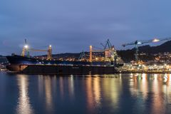 Naval industry in Vigo at night royalty free stock images
