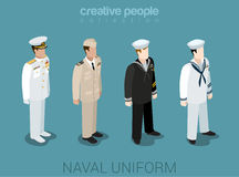 Naval military people in uniform flat style isometric icon set Stock Image
