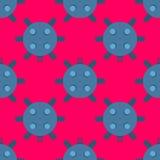 Naval mine seamless pattern vector illustration sea bomb pink background Stock Photos
