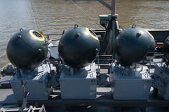 Naval mine on the ship Royalty Free Stock Photos