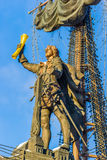 Naval monument to Peter the Great in winter Royalty Free Stock Images