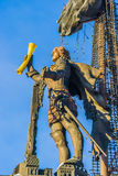 Naval monument to Peter the Great in winter Stock Photos