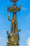 Naval monument to Peter the Great in winter Stock Images