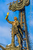 Naval monument to Peter the Great in winter Royalty Free Stock Photo