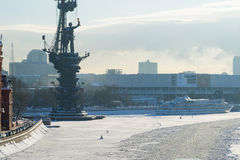 Naval monument to Peter the Great in winter Royalty Free Stock Photography