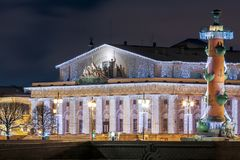 Naval Museum and Rostral Columns. In Christmas decorations.Saint Petersburg, Russia Stock Photos