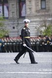 Naval officer. Of the Russian Federation army stepped across the Red Square. Moscow Victory Parade of 2008 Stock Photo