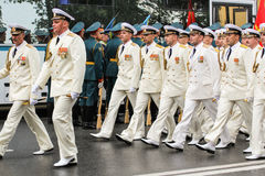 Naval officers in white. Military sailors on parade in honor of the Navy Royalty Free Stock Images