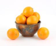Naval oranges in vintage metal bowl Royalty Free Stock Images