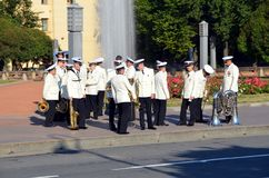 Naval Orchestra. SAINT-PETERSBURG, RUSSIA - JULY 25, 2014: Naval Orchestra in  St. Petersburg Royalty Free Stock Photography