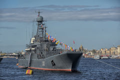 Naval parade dedicated to the Victory Day Stock Images