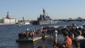 Naval parade dedicated to the Victory Day in St. Petersburg, Russia stock video
