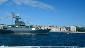 Naval parade dedicated to the Victory Day in St. Petersburg, Russia stock video footage