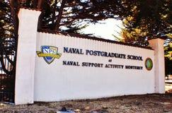 Naval postgraduate school. A sign on the gate in front of the naval postgraduate school in Monterey California Stock Photo