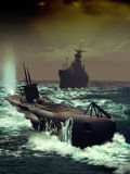 Naval pursuit stock illustration