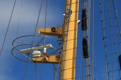 Naval rangefinder on the yellow mast closeup Stock Photo