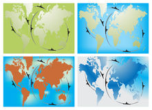 Naval route in four world map Royalty Free Stock Photo