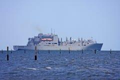 Naval ship. Moored off Virginia beach Stock Photo