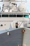 Naval ship with gun. Stock Photos