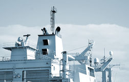 Naval ship with radar. Stock Images