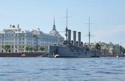 Naval ship on river Stock Photos