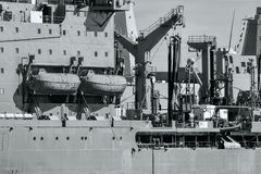 Naval Ships in Details Port Black and White Royalty Free Stock Image