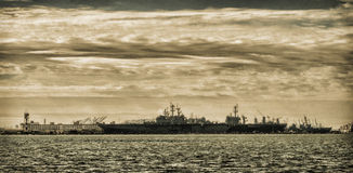 Naval Ships in Details Port in Sepia Stock Photo