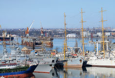 Naval ships moored in military harbor of Odessa, Ukraine. Naval ships moored in military harbor of Odessa - largest Ukrainian sea port on Black Sea,Europe Stock Photo