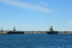 Naval Ships in San Diego Bay Royalty Free Stock Photos