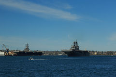 Naval Ships in San Diego Bay Stock Photography