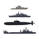 Naval Ships Set Military Ship or Boat Used by Navy. Naval ships set. Military ship or boat used by navy. Damage resilient and armed with weapon systems. Armament Stock Photos