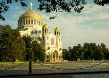 Naval St. Nicholas Cathedral in Kronstadt. Stock Photos