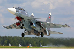 Naval SU-30SM jet fighter takes off at Kubinka air force base, Moscow region, Russia. KUBINKA, MOSCOW REGION, RUSSIA - JUNE 22, 2015: Naval SU-30SM jet fighter Stock Image