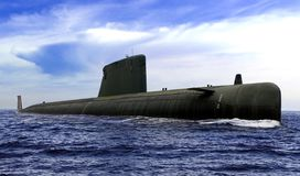Naval Submarine On Open Sea Surface With Cloudy Blue Sky Royalty Free Stock Photo