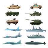 Naval vehicles, airplanes and different warships. Illustrations of artillery, battle tanks and submarine Royalty Free Stock Photo