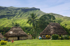 Navala村庄,维提岛,斐济传统房子  免版税库存照片