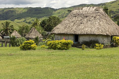 Navala village in Fiji. Traditional Fijian village Navala on a cloudy day royalty free stock photo