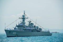 Navals в деятельности обзора флота на автостоянке военного корабля на море Стоковая Фотография