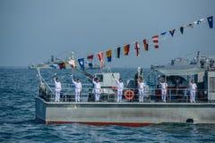 Navals в деятельности обзора флота на автостоянке военного корабля на море Стоковые Фотографии RF
