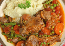 Navarin of Lamb Stew with mash Potato Stock Photography
