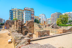 Navarinou Square with the remains of the palace of Galerius. In Thessaloniki royalty free stock image