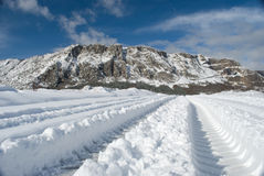 Navarra winter landscape view. Navarra mountain with snow in this beautiful province in the north Spain Royalty Free Stock Photos