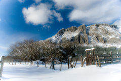 Navarra winter landscape view. Beautiful winter panorama in navarra mountains in north of spain Royalty Free Stock Photography