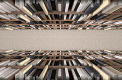 Navata laterale dello scaffale per libri delle biblioteche Fotografie Stock Libere da Diritti