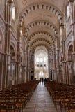 Nave à l'abbaye de Vezelay dans la Bourgogne Franche Comte dans les Frances Images stock
