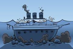Nave affondata illustrazione di stock