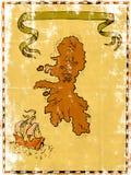 Nave alta de la isla del tesoro de la correspondencia Imagen de archivo libre de regalías